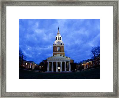 Wake Forest Wait Chapel Lit Up Framed Print by Wake Forest University