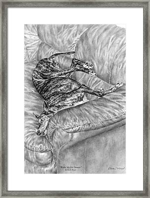 Wake Me For Dinner - Greyhound Dog Art Print Framed Print by Kelli Swan