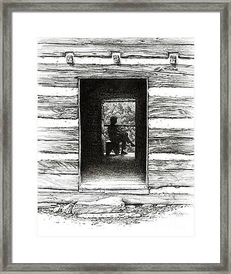Framed Print featuring the drawing Walker Sisters' Cabin Door by Bob  George