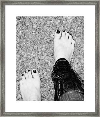 Framed Print featuring the photograph Walking Barefoot by Ester  Rogers