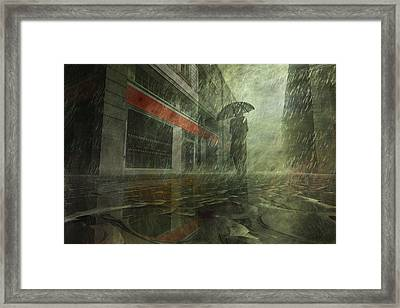 Walking In The Rain Framed Print by Carol and Mike Werner