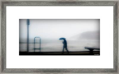 Walking In The Rain Framed Print by Christoph Mueller