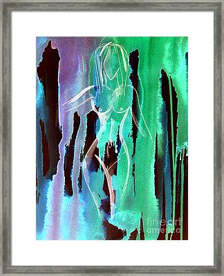 Framed Print featuring the painting Walking In The Rain by Julie Lueders