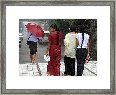 Walking In The Rain Framed Print by RicardMN Photography