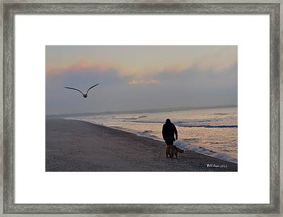 Walking On The Beach - Cape May Framed Print by Bill Cannon