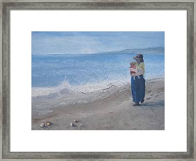 Walking On The Beach Framed Print by Angela Stout