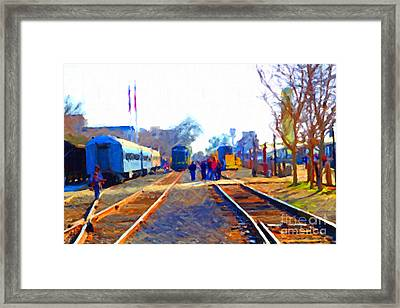 Walking On The Train Tracks In Old Sacramento California . Painterly Framed Print by Wingsdomain Art and Photography
