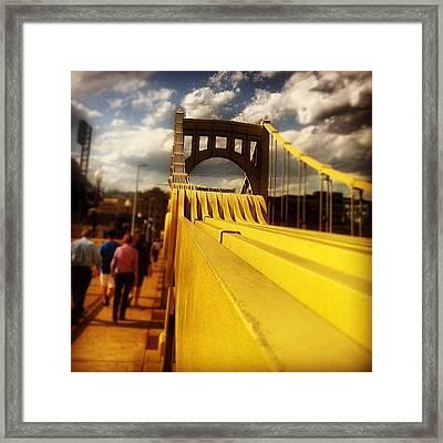 Walking Over The Bridge Framed Print