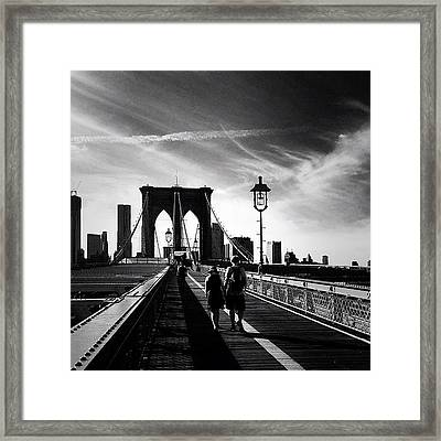 Walking Over The Brooklyn Bridge - New York City Framed Print by Vivienne Gucwa