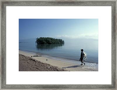 Framed Print featuring the photograph Walking The Beach At Dawn Barahona Dominican Republic by John  Mitchell