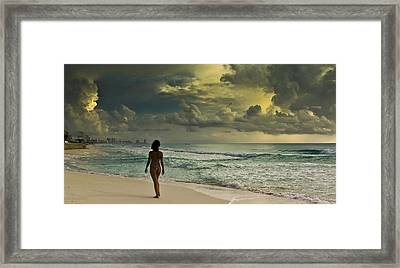 Walking The Beach Framed Print by Nick Mares