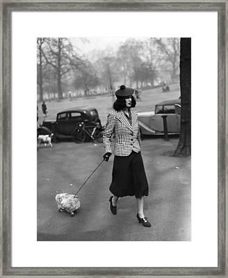 Walking The Dog Framed Print by H F Davis