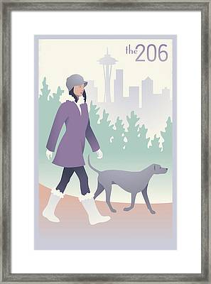 Walking The Dog In Seattle Framed Print by Mitch Frey