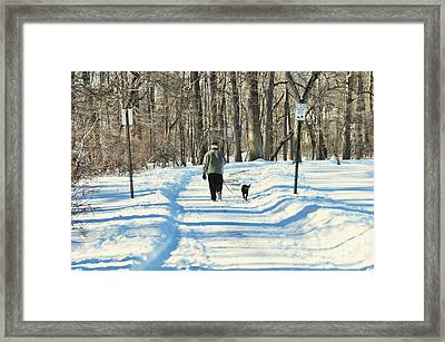 Walking The Dog Framed Print by Paul Ward