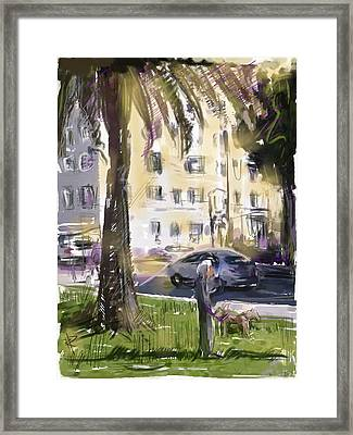 Walking The Dogs Framed Print by Russell Pierce