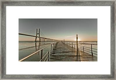 Walkway And Bridge Framed Print by Landscape photography