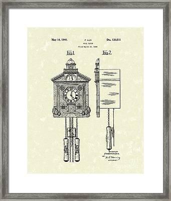 Wall Clock 1940 Patent Art Framed Print by Prior Art Design
