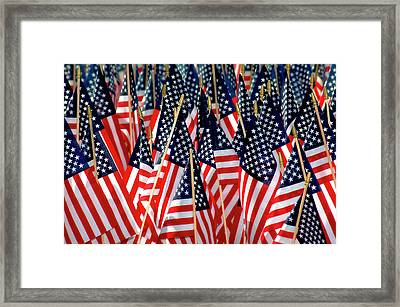 Wall Of Us Flags Framed Print by Carolyn Marshall