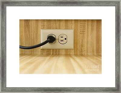 Wall Socket With Power Cable Framed Print by Sam Bloomberg-rissman