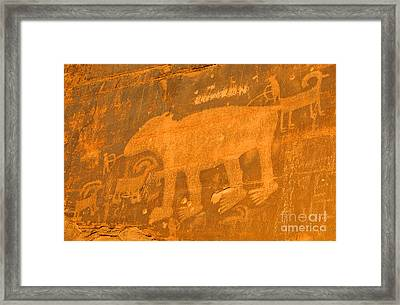 Wall Street Cliffs Petroglyph - Moab Framed Print