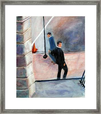 Framed Print featuring the painting Wall Street by Rosemarie Hakim