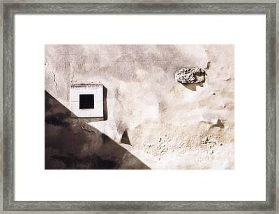 Wall With Square Hole Framed Print
