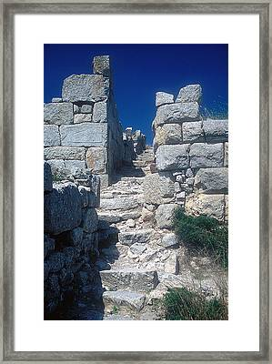 Walls Of Thera Framed Print by Andonis Katanos