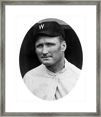 Framed Print featuring the photograph Walter Johnson - Washington Senators Baseball Player by International  Images