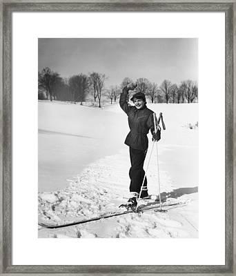 Wan Cross-country Skiing, Waving, (b&w) Framed Print by George Marks