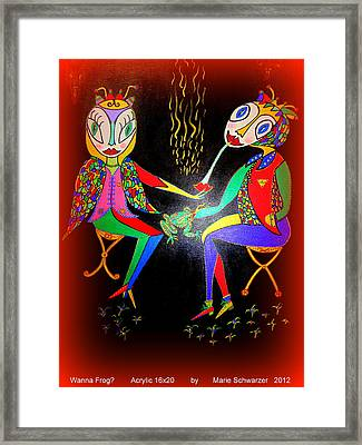 Framed Print featuring the painting Wanna Frog? by Marie Schwarzer