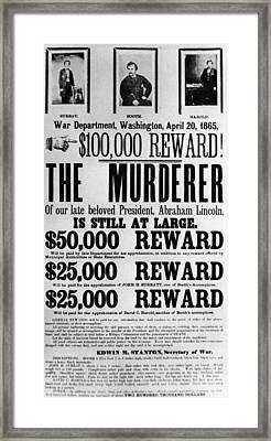 Wanted Poster For John Surratt, John Framed Print by Everett