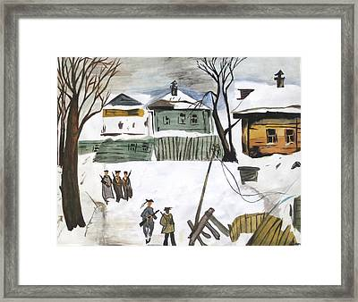 War Affected Village - Water Colouring Framed Print by Rejeena Niaz