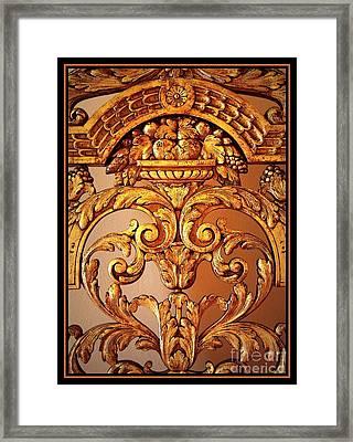 Warm Wood Design With Border Framed Print by Carol Groenen