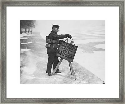 Warning And Fine Framed Print by Keystone