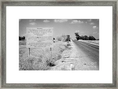 warning road sign warning of the border of the turkish military controlled area of the SBA Sovereign Framed Print by Joe Fox