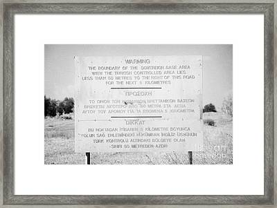 warning sign warning of the border of the turkish military controlled area of the SBA Sovereign Base Framed Print by Joe Fox