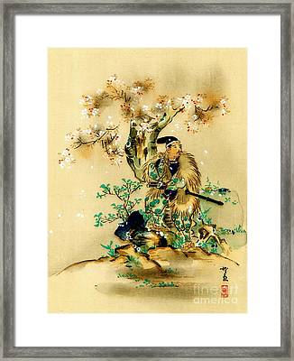 Warrior Resting By Blossoming Tree 1895 Framed Print by Padre Art