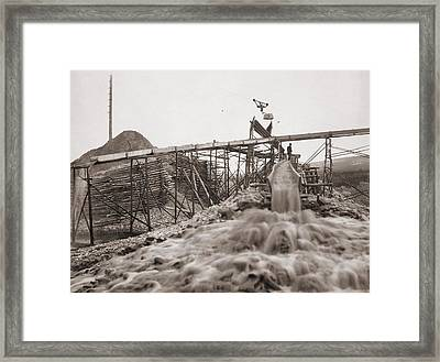 Washing Gold In A Sluice Box Placed Framed Print by Everett