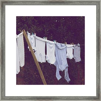 Washing On A Line Framed Print by photography by Kate Hiscock