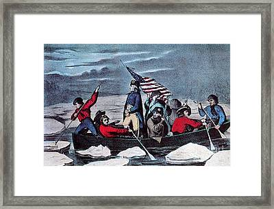 Washington Crossing The Delaware, 1776 Framed Print by Photo Researchers