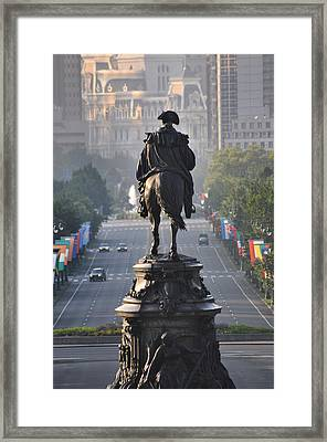 Washington Looking Down The Parkway - Philadelphia Framed Print