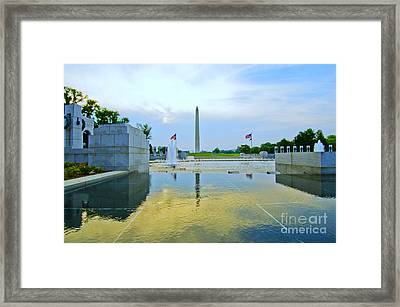 Framed Print featuring the photograph Washington Monument And The World War II Memorial by Jim Moore
