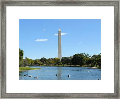 Washington Monument In Summer Framed Print by