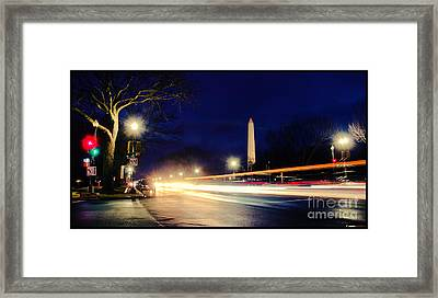 Framed Print featuring the photograph Washington Monument On A Rainy Rush Hour by Jim Moore