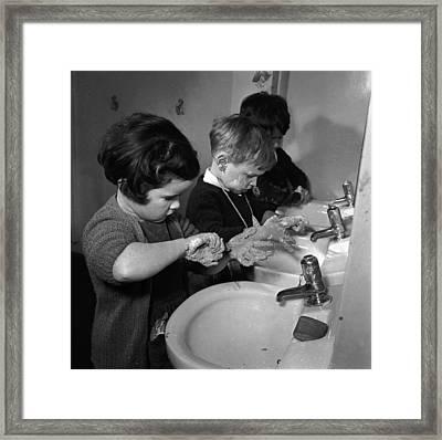 Washroom Framed Print by Juliette Lasserre