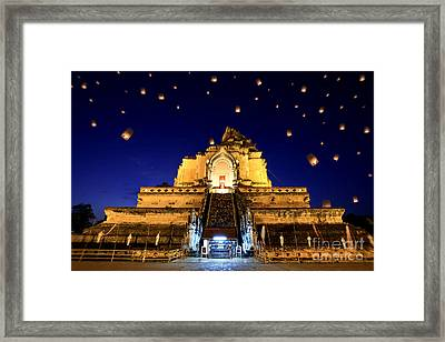 Wat Chedi Luang Framed Print by Anek Suwannaphoom
