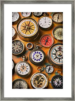 Watches And Compasses  Framed Print