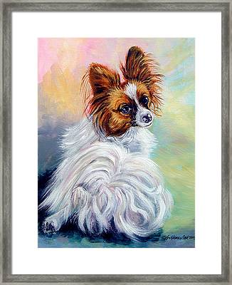 Watchful - Papillon Dog Framed Print by Lyn Cook