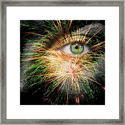 Watching Fireworks Framed Print