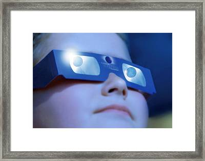 Watching Solar Eclipse Framed Print by Detlev Van Ravenswaay
